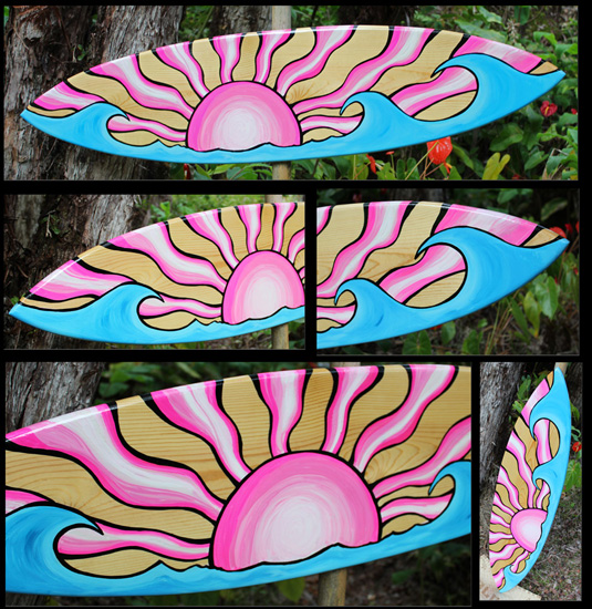 wood surf art decorative surfboard