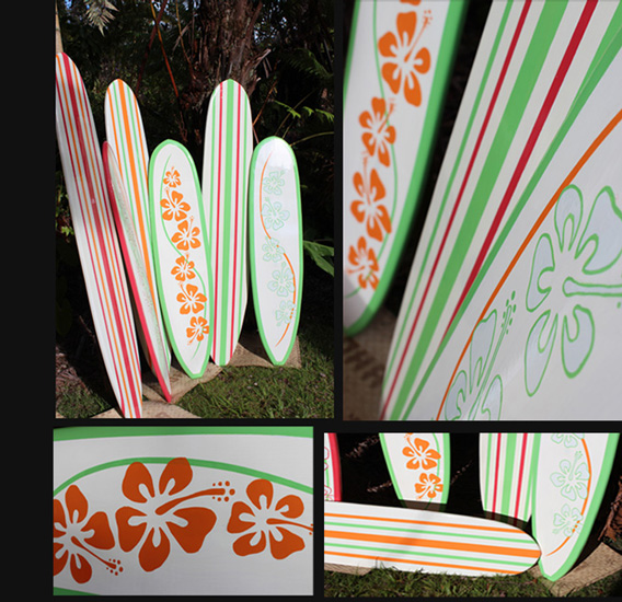 color stripes white decorative surfboard