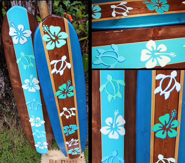hawaii honu ohana decorative surfboard