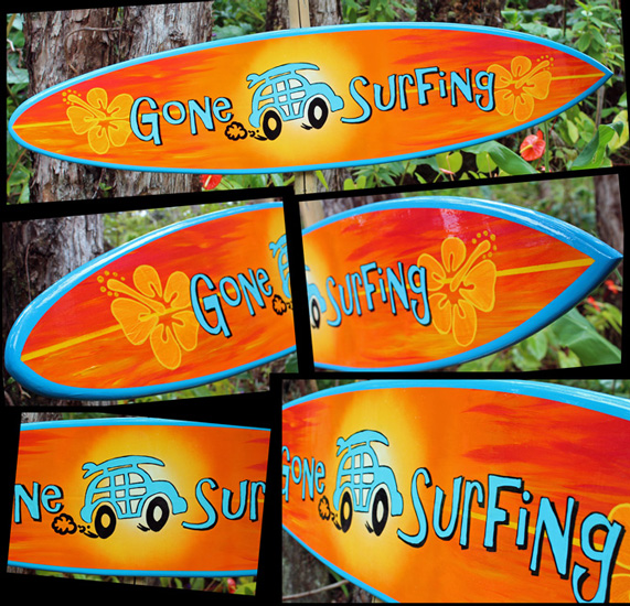 sunset surfer decorative surfboard