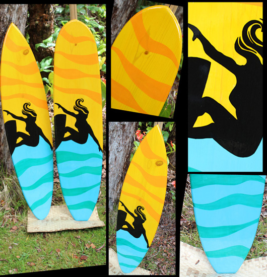 surfer girl decorative surfboard