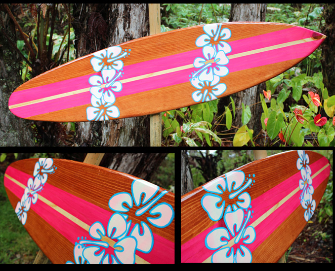 hibiscus decorative surfboard